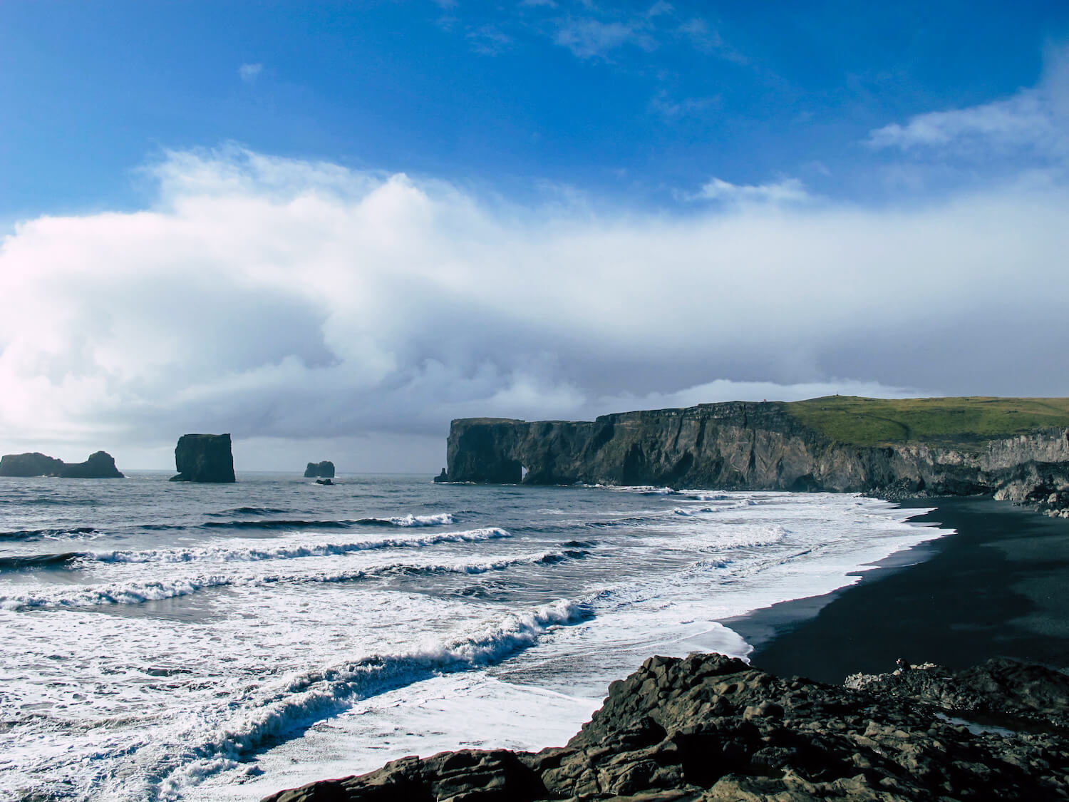 Rocky cliffs and ocean waves on the coast of Iceland