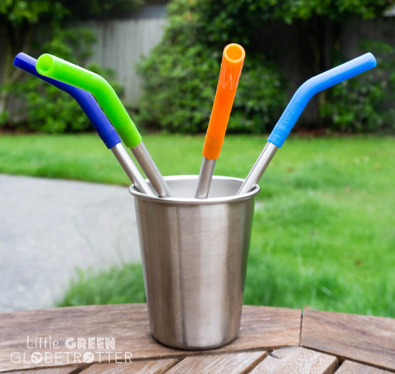 Pack of four Klean Kanteen straws with silicone tips in a Klean Kanteen steel cup. These are a great zero waste food storage item and they're ideal for packing for picnics. A popular eco friendly travel tip is to take straws with you.