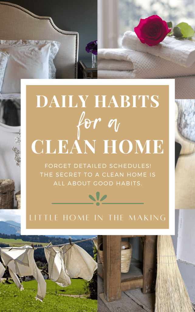 A collage of images that reflect the best daily habits for a clean home.
