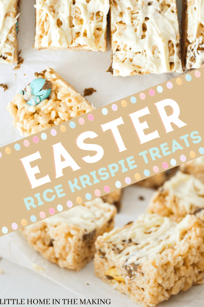 A top and side view of Mini Egg Rice Krispie squares. The text reads: Easter Rice Krispie Treats.