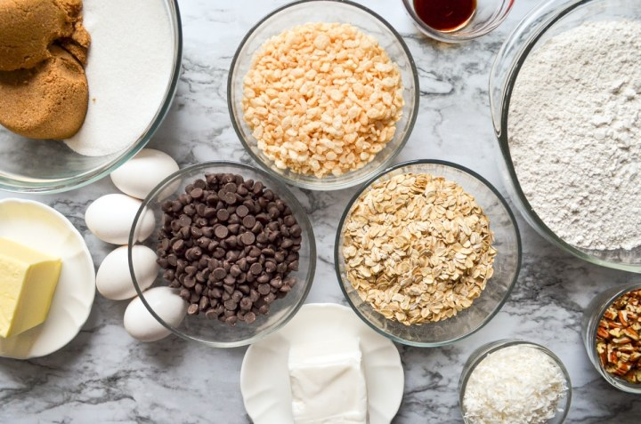 An overhead shot of the ingredients needed to make buffalo chip cookies.