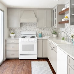 White Appliances Kitchen Furniture Pantry As A Design Feature In The Little House Greige Cabinets Glass Tile Backsplash