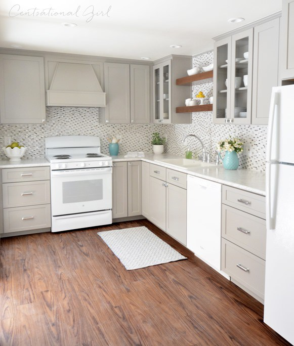 white appliances kitchen cook stoves as a design feature in the little house greige cabinets glass tile backsplash