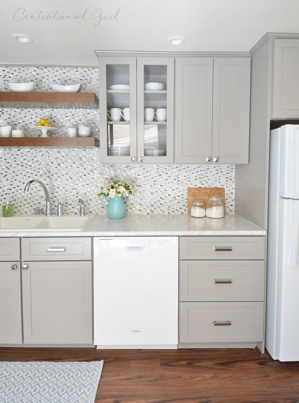 Kitchens with white appliances Oak Grey Kitchen Cabinets White Appliances Shimmering Backsplash Little House Of Could White Appliances As Design Feature In The Kitchen Little House