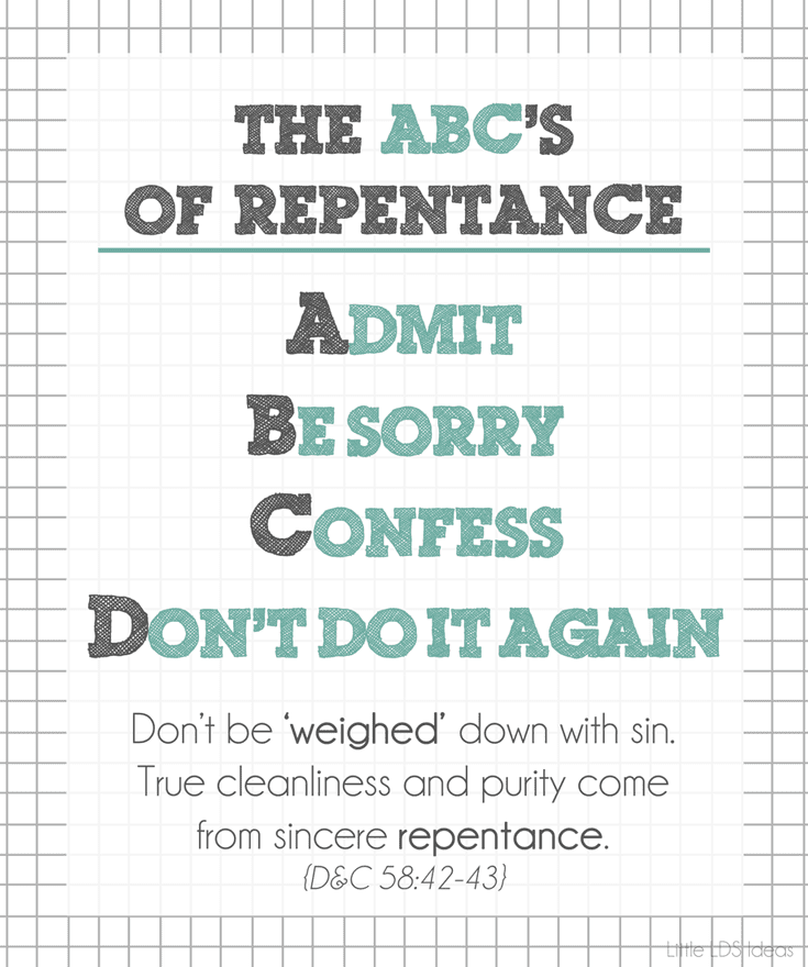 Steps of Repentance from Little LDS Ideas. This makes a great handout for any lesson on repentance.