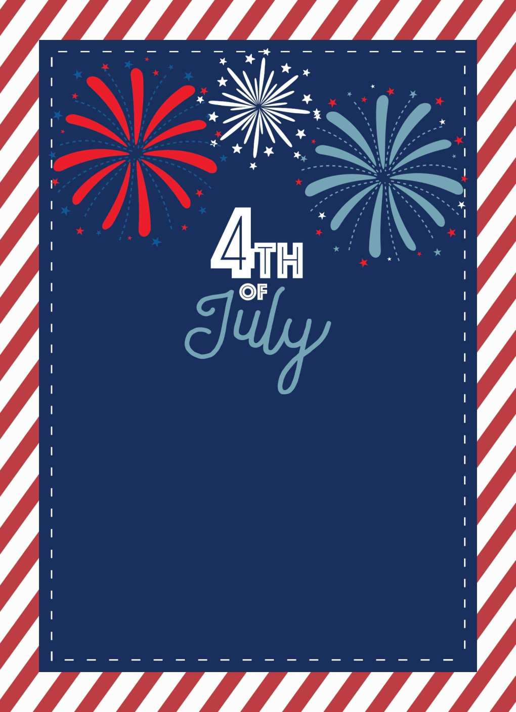 4th of July Blank Invite