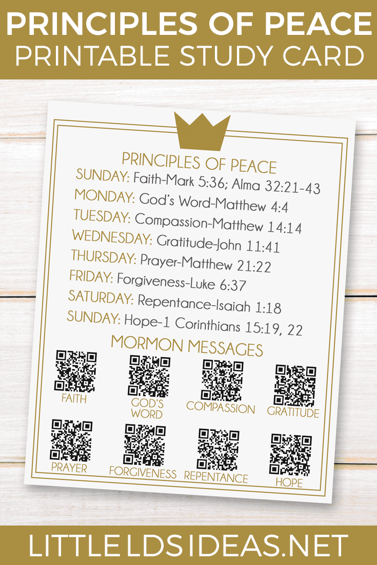 Principles of Peace Prince of Peace Study Card from Little LDS Ideas Use this Prince of Peace study card to help you study the principles of peace.