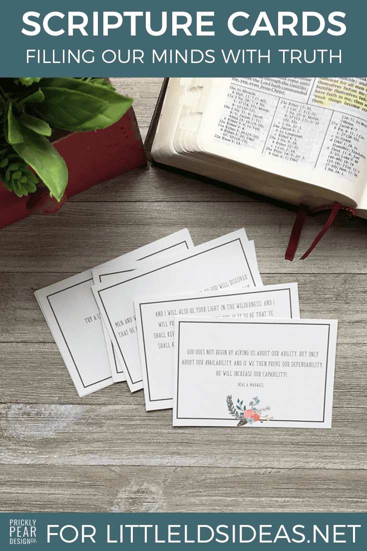 LDS Scripture Cards. These scripture cards are perfect to print and tape to a mirror, tuck in a planner, or print and give to a friend. Created by Prickly Pear Design Co. for Little LDS Ideas