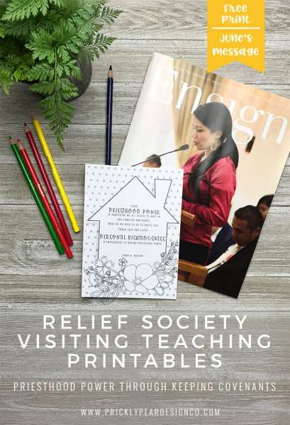 Relief Society Visiting Teaching Printables | FREE DIY Monthly Print | LDS Relief Society | Prickly Pear Design Co.