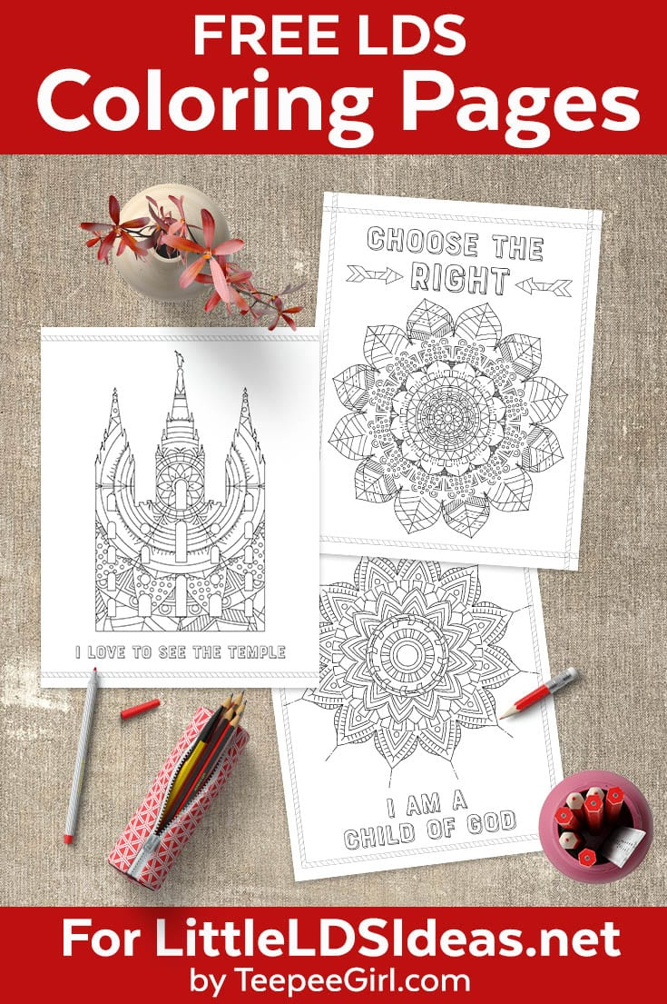 Free LDS Coloring Pages | Perfect for church, nursery, primary, activity days, or Young Women | Great for adults & kids! www.LittleLDSIdeas.net #LDSPrintables #LDSColoring #LDSPrimary