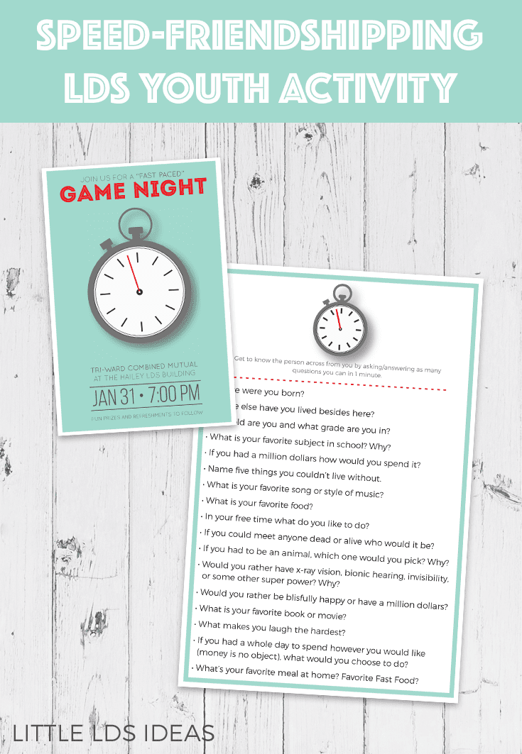 LDS Youth Activity Speed-Friendshipping. Need a fun idea for your next combined activity? Try speed-friendshipping with these great printables from Little LDS Ideas. #LDSMutual #LDSYouthActivities #LDSYoungWomen #LDSYouth