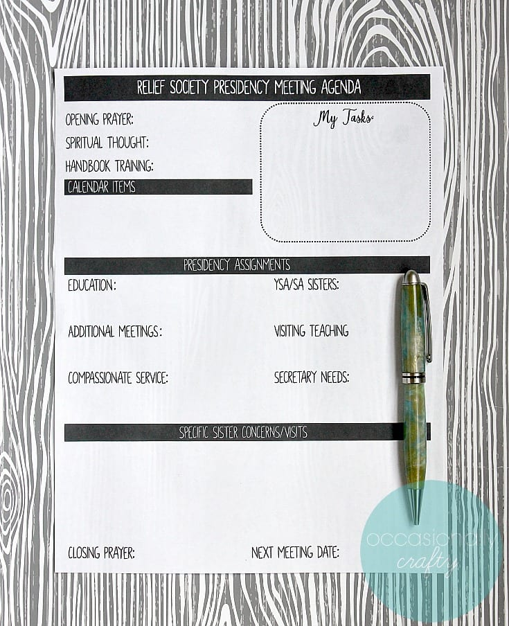 Relief Society Presidency Meeting Agenda Printable