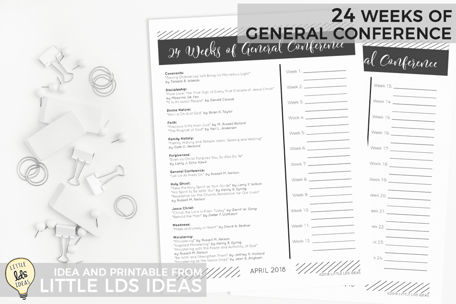 Lds 24 Week General Conference Study Guide Little Lds Ideas