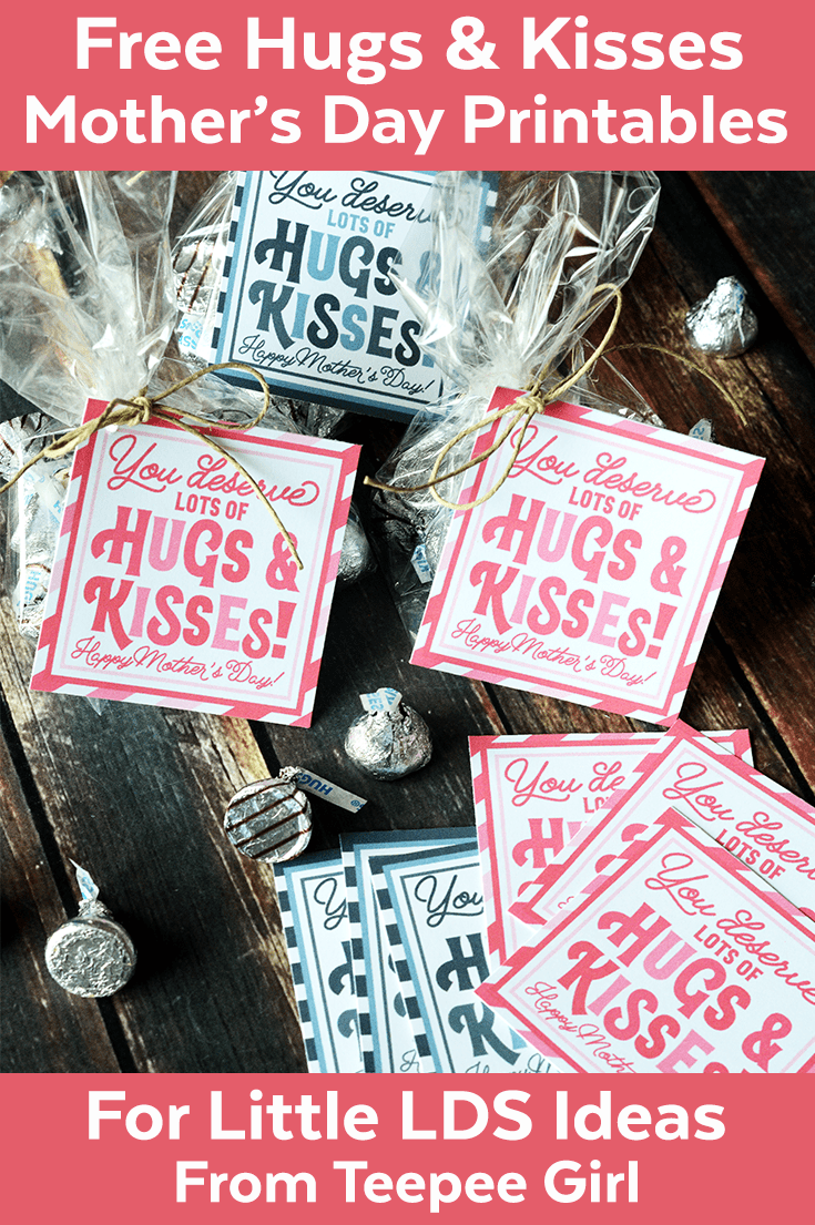 Use these free Mother's Day printables for an easy, cute, and fun Mother's Day gift! Let all the women in your life know that they deserve hugs & kisses! www.LittleLDSIdeas.net #MothersDay #Mother'sDay #FreeMother'sDayPrintable #Mother'sDayGift #Hugs&KissesMothersDay #Mother'sDayLDS #LDSPrimary #LDSYoungWomen #EasyGiftMoms #MomsDay #GiftForMom