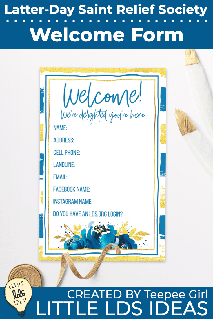 Use this Relief Society Welcome Form to get all the information from the new sisters who move into your ward in a pretty and easy way! www.LittleLDSIdeas.net #ReliefSociety #ChurchOfJesusChristOfLatterDaySaints #LDS #LDSReliefSociety #LittleLDSIdeas #Ministering #ReliefSocietyWelcome