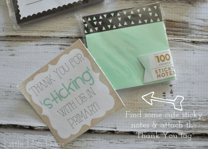 LDS Primary Sticky Note Thank You Tags
