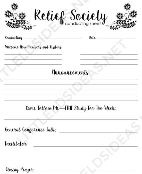 Relief Society Conducting Sheet Updated 2019