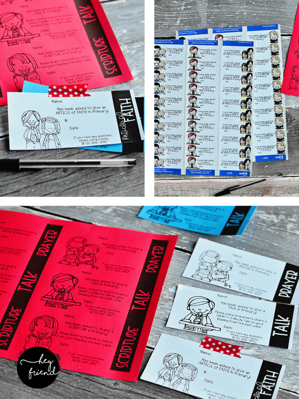 primary assignment cards & stickers
