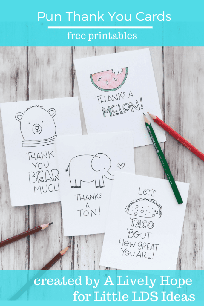 Pun Thank You Cards to Color - Little LDS Ideas