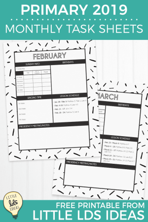 Primary 2019 Monthly Task Sheets