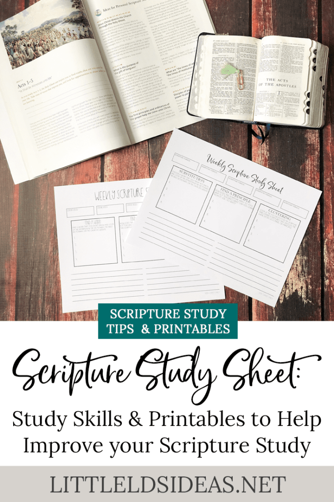 Scripture  Study Sheet and Study Skills to improve your Scripture Study