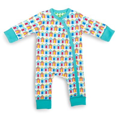 Beach Huts Baby Grow Organic Cotton Picture