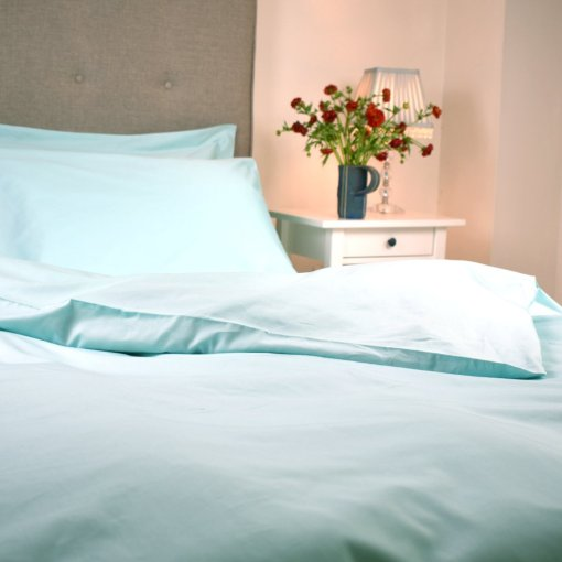 Organic Cotton Duvet Cover in an Aquamarine Colour, Ethical Bedding, GOTS Certified