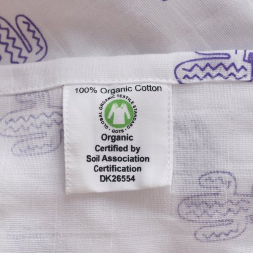 100% Organic Cotton Swaddle with Cactus Design by LittleLeaf (Close-up of GOTS Organic Cotton Label and Soil Association Certification) for the Ethical Baby