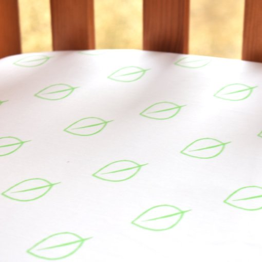LittleLeaf Fitted Cot Bed Sheet (Leaf Print)