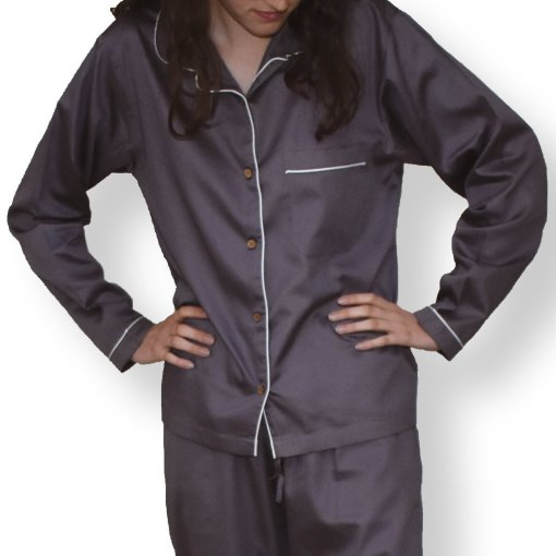 LittleLeaf Chocolate Plum Women's Pyjamas with White Piping