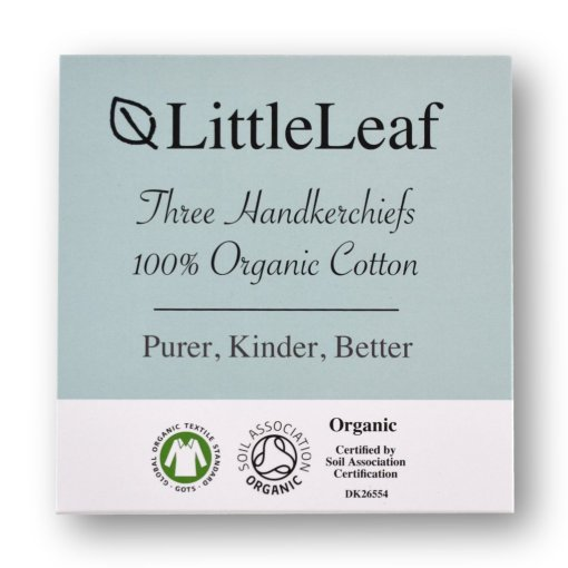Handkerchief Gift Box Front - Three Pack organic cotton handkerchiefs by LittleLeaf, in a gift box
