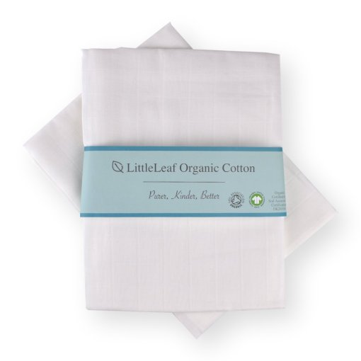 Pure White Organic Cotton Muslins by LittleLeaf