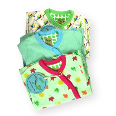 Three Organic Baby Grows Gift by LittleLeaf