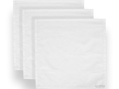 Three White LittleLeaf Organic Cotton Handkerchiefs