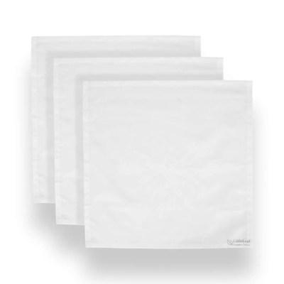 Three White LittleLeaf Organic Cotton Handkerchiefs