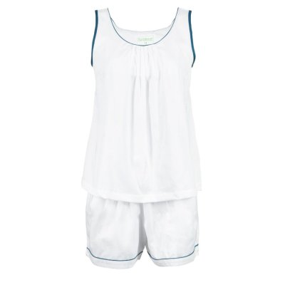 LittleLeaf White with Moroccan Blue Piping PJs with Shorts