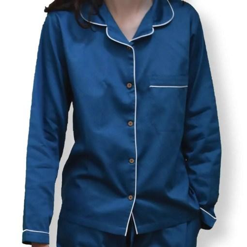 LittleLeaf Ocean Blue Women's Pyjamas with White Piping