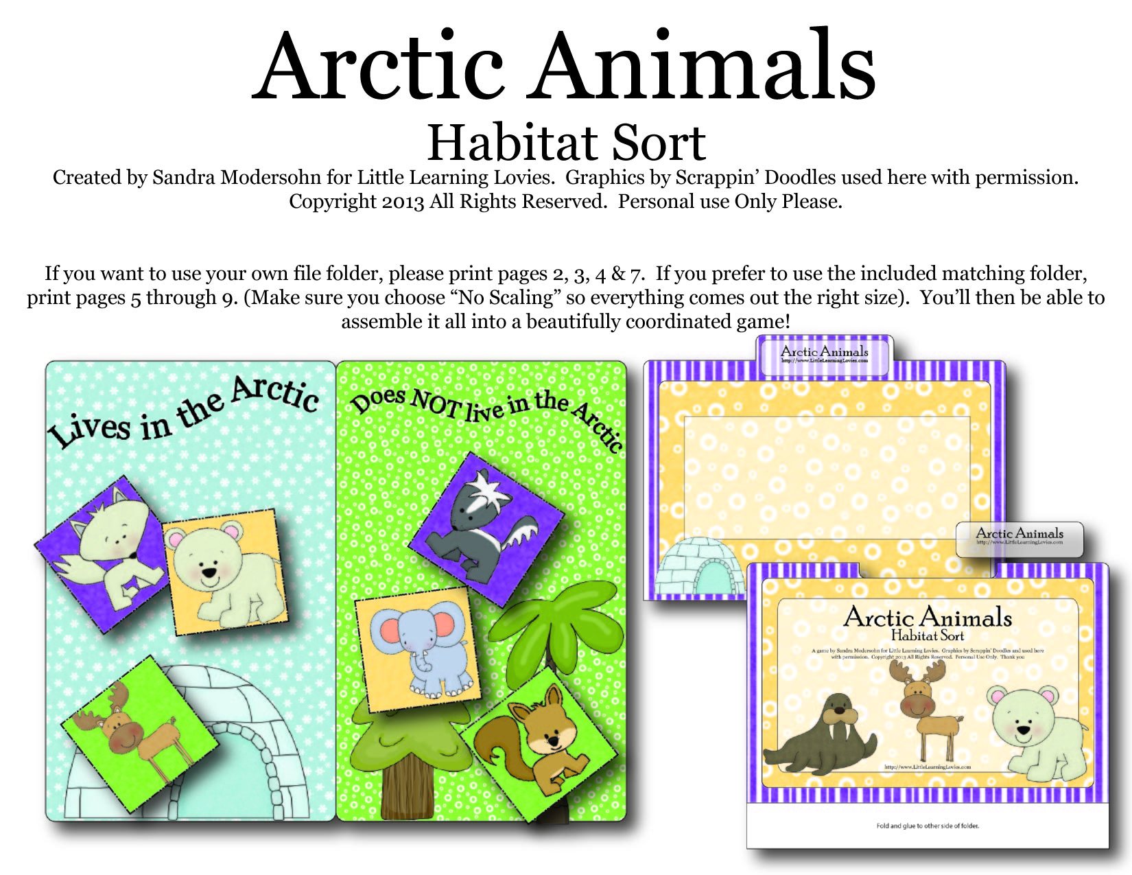 Arctic Animals Habitat Sort Little Learning Lovies