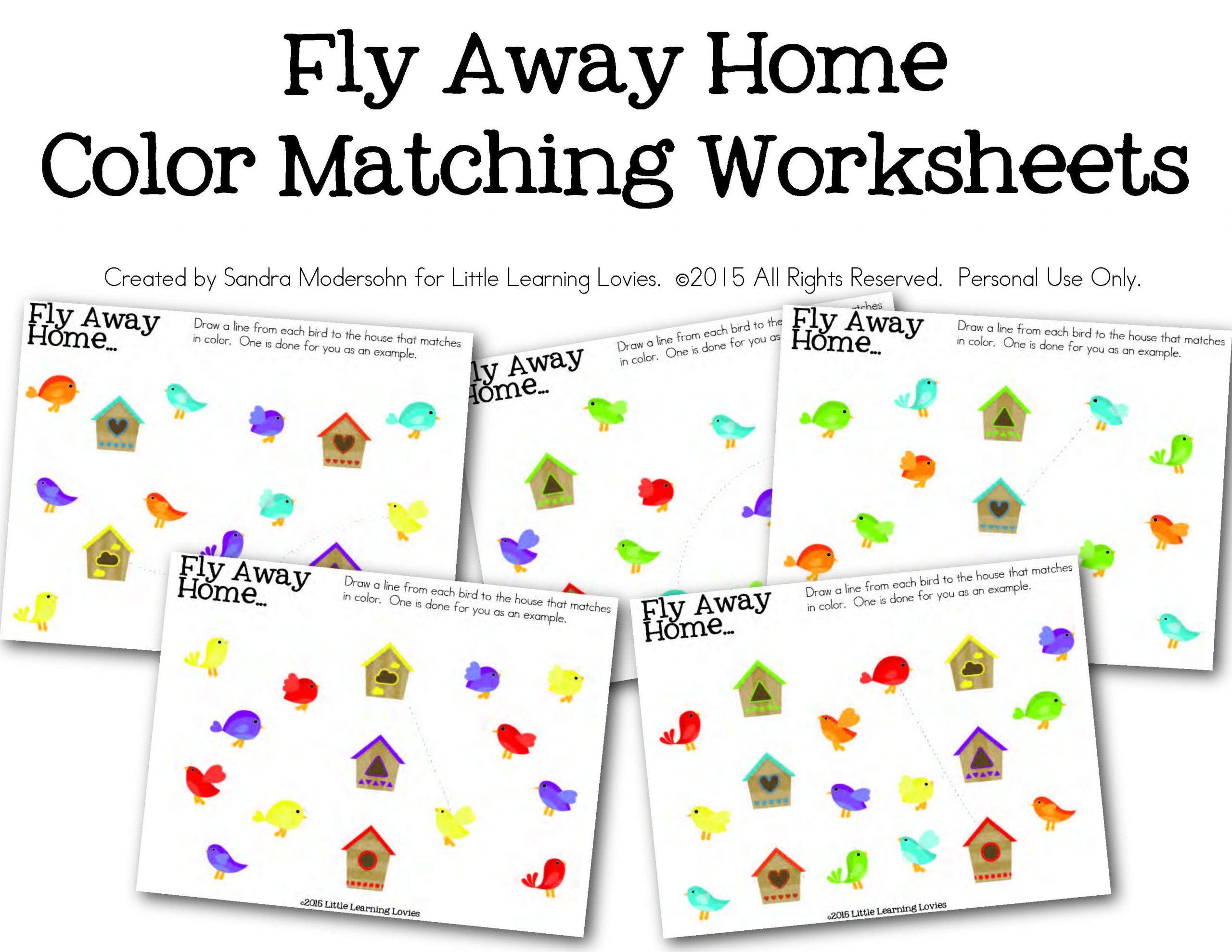 Birdhouse Color Matching Worksheet Set Little Learning