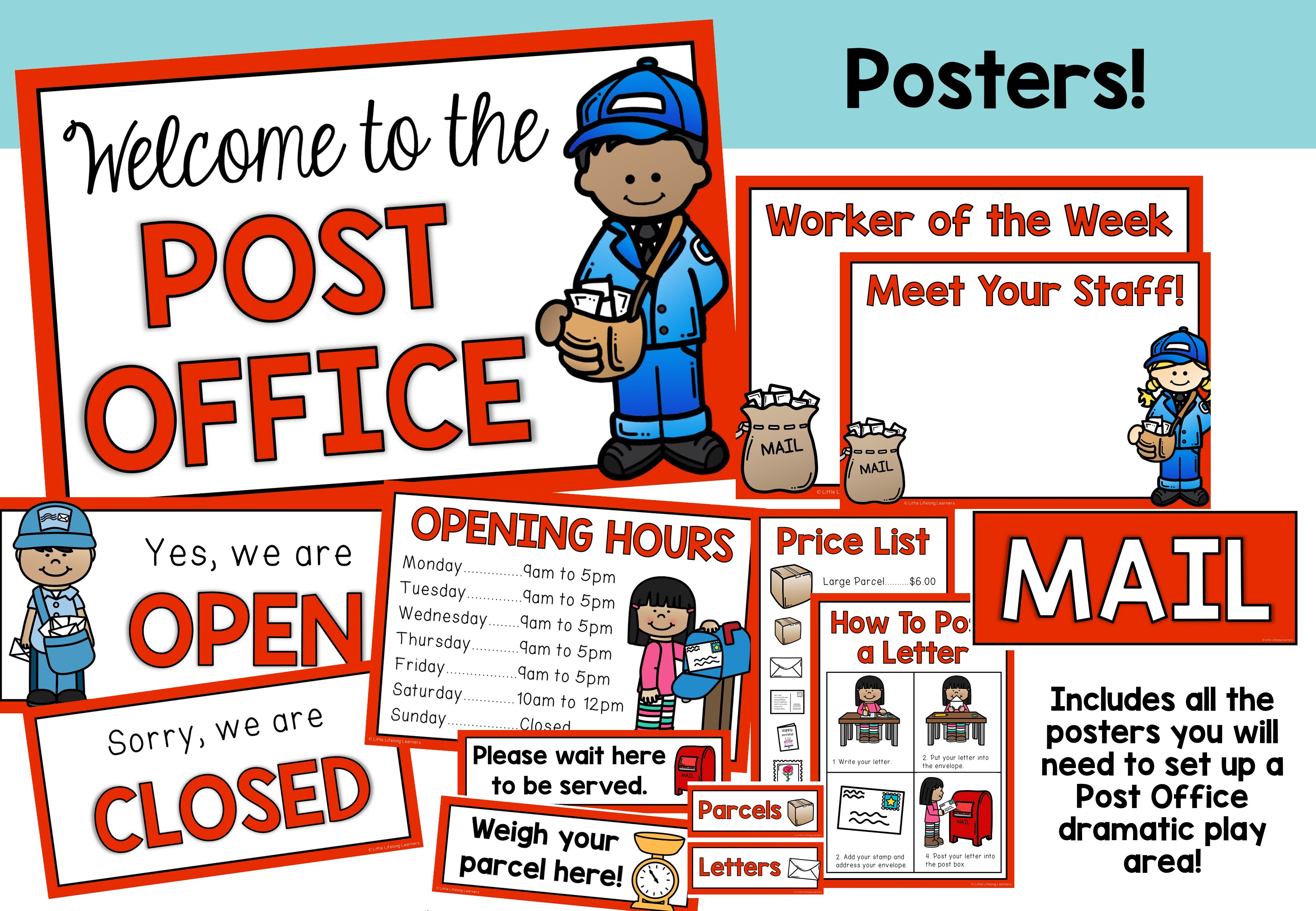 Post Office Dramatic Play Set