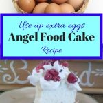 Angel food cake with raspberries and basket of eggs