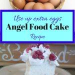 Angel food cake with raspberries and basket of eggs