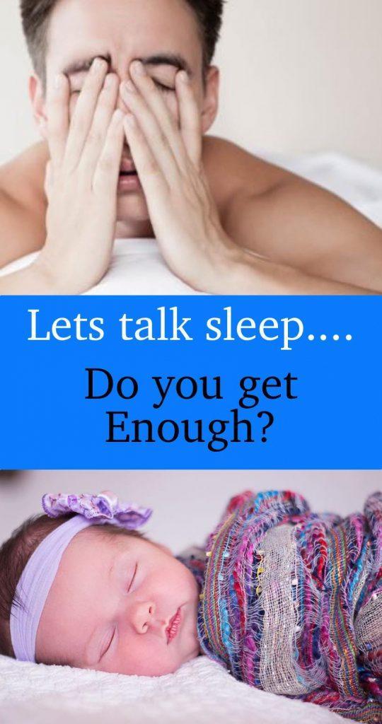 Let talk sleep do you get enough? Baby sleeping, man rubbing his face.