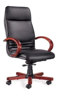 DB014 Leather High Back Office Chair – Wood Base