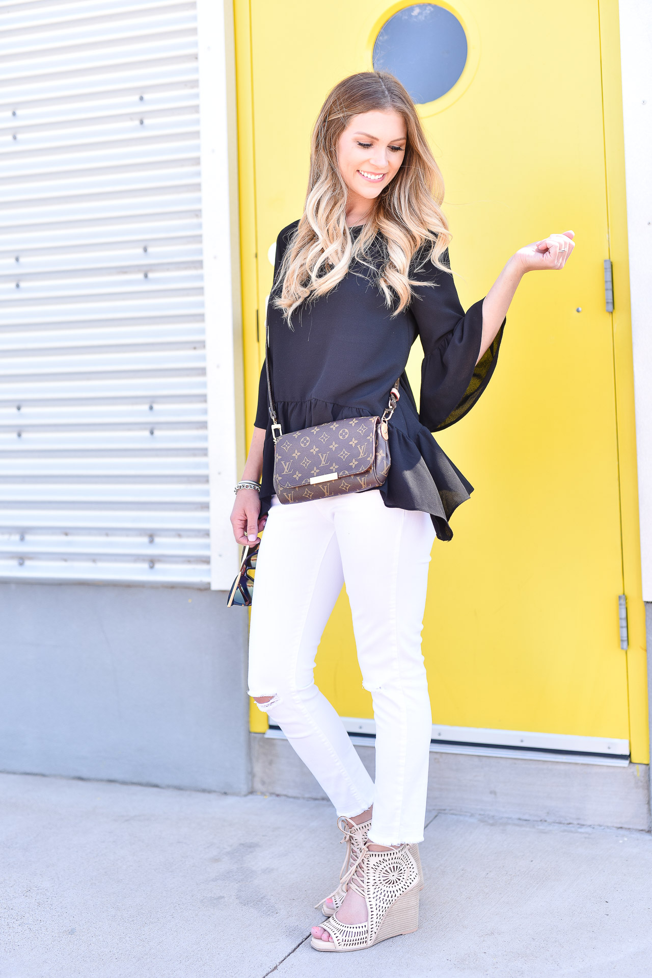 10 Closet Staples Every Woman Needs // Wardrobe Essentials // Black Gibston Ruffle Top Nordstrom