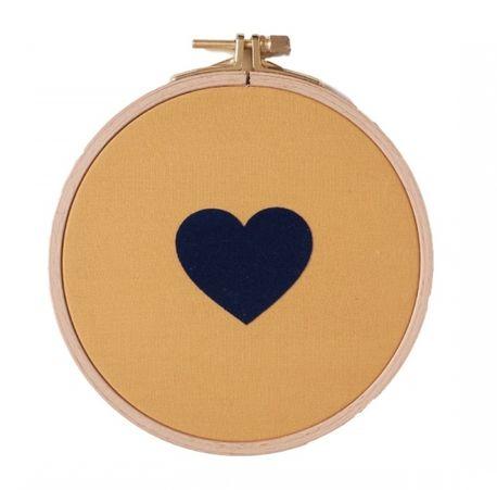 cadre-coeur-jaune-moutarde-et-bleu-velours