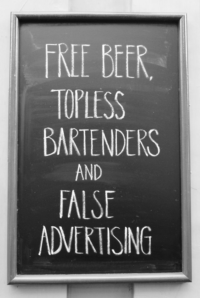Free beer, topless bartenders and false advertising