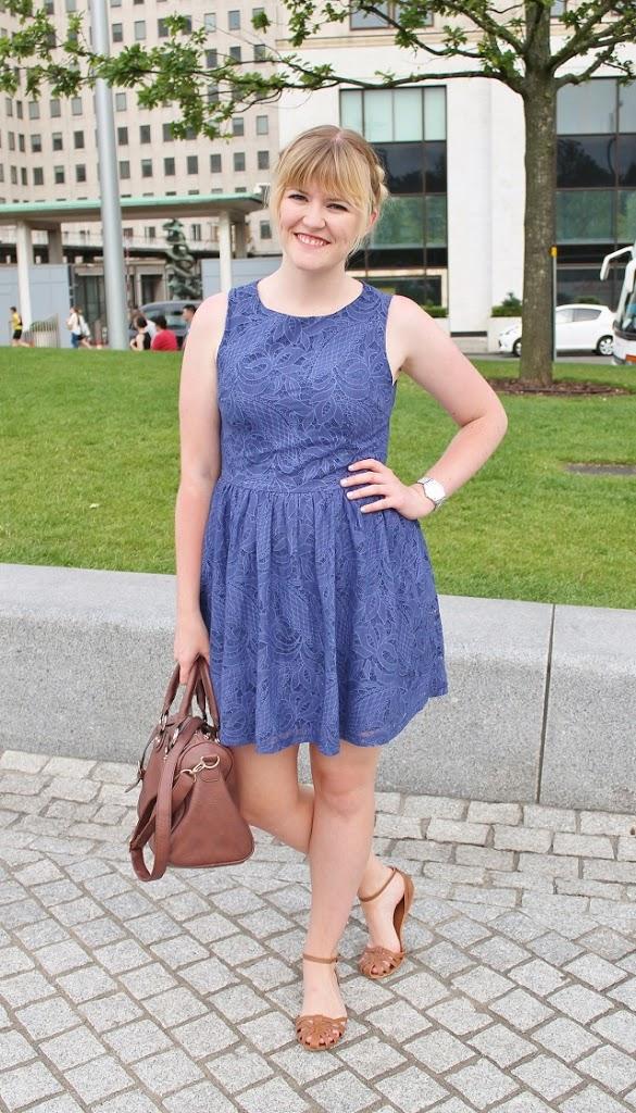 Little Miss Katy blue dress, tan sandals and bag, milkmaid braids
