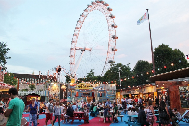 London Wonderground at Southbank Centre, view of the London Eye