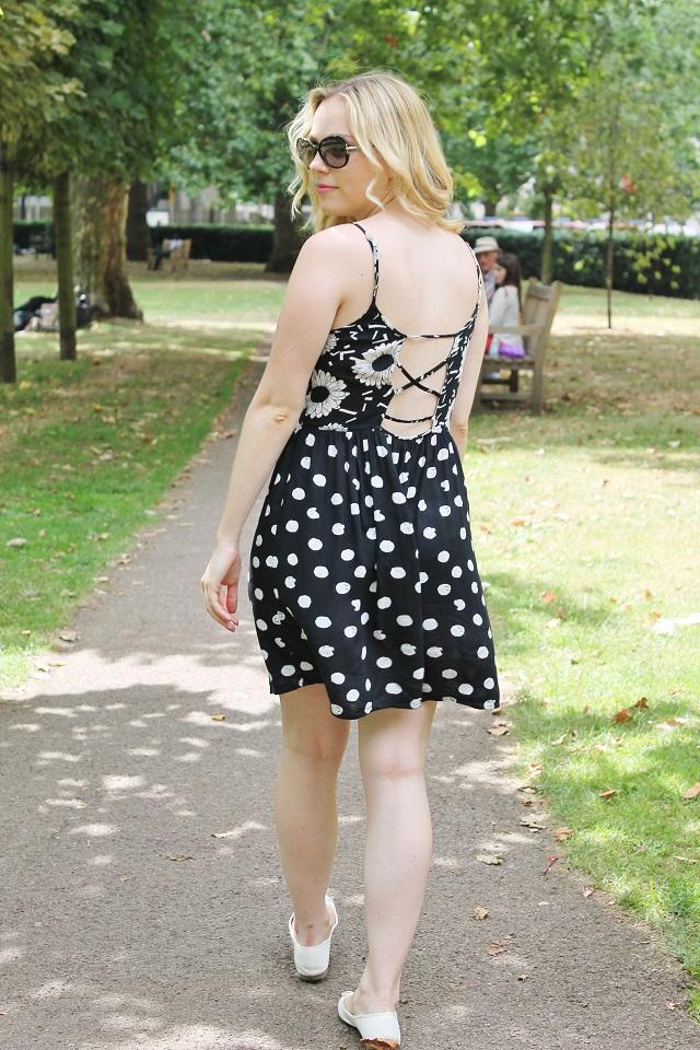 Vix black polka dot daisy strappy dress